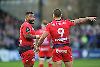 Sebastien Tillous-Borde of Toulon has a word with team-mate Steffon Armitage. European Rugby Champions Cup match, between Bath Rugby and RC Toulon on January 23, 2016 at the Recreation Ground in Bath, England. Photo by: Patrick Khachfe / Onside Images