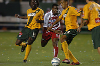 Ugo Ihemelu, left, Roberto Mina, middle, Tyrone Marshall, right, L.A. Galaxy vs FC Dallas, L.A. won 2-0.