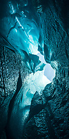 View up from blue ice cave on Fox Glacier, Westland Tai Poutini National Park, West Coast, UNESCO World Heritage Area, New Zealand, NZ