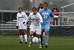 06 December 2009: Stanford's Teresa Noyola (7) and North Carolina's Casey Nogueira (54). The University of North Carolina Tar Heels defeated the Stanford University Cardinal 1-0 at Aggie Soccer Stadium in College Station, Texas in the NCAA Division I Women's College Cup Championship game.