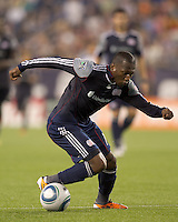 New England Revolution midfielder Sainey Nyassi (17) dribbles. In a Major League Soccer (MLS) match, the Los Angeles Galaxy defeated the New England Revolution, 1-0, at Gillette Stadium on May 28, 2011.