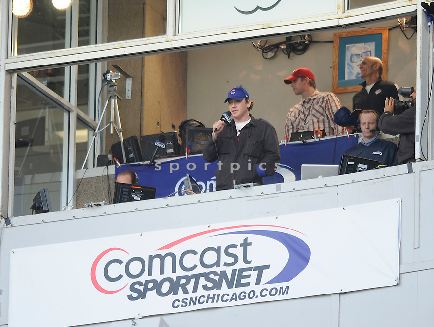 "Chicago area native,  JOHN CUSAK  visits the Chicago Cubs at Wrigley Field.  He later sang ""Take me out to the Ballgame"" during the seventh inning of the Houston Astros at the Chicago Cubs on April 16, 2010.  .."