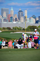 Phil Mickelson (USA) lines up his putt on 16 during round 2 Four-Ball of the 2017 President's Cup, Liberty National Golf Club, Jersey City, New Jersey, USA. 9/29/2017.<br /> Picture: Golffile | Ken Murray<br /> <br /> All photo usage must carry mandatory copyright credit (&copy; Golffile | Ken Murray)