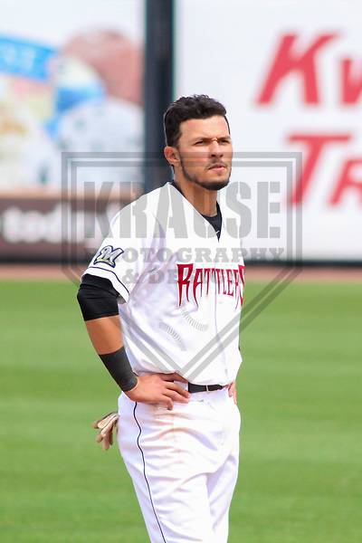 Wisconsin Timber Rattlers outfielder Joantgel Segovia (2) during a Midwest League game against the Lansing Lugnuts on May 8th, 2018 at Fox Cities Stadium in Appleton, Wisconsin. Lansing defeated Wisconsin 11-4. (Brad Krause/Krause Sports Photography)