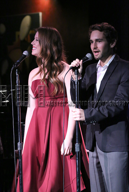 Allie Trimm and Aaron Simon Gross performing at The Lilly Awards Broadway Cabaret at the Cutting Room on October 17, 2016 in New York City.