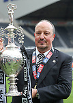 Rafa Benitez manager of Newcastle United holding the EFL Championship trophy during the EFL Championship match at St James' Park Stadium, Newcastle upon Tyne. Picture date: May 7th, 2017. Pic credit should read: Jamie Tyerman/Sportimage
