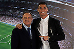 Cristiano Ronaldo and Real Madrid's president Florentino Perez during the renews of Cristiano Ronaldo's contract with Real Madrid until 2021 at Santiago Bernabeu Stadium in Madrid. November , 2016. (ALTERPHOTOS/Borja B.Hojas)