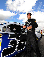 Sept. 19, 2008; Dover, DE, USA; Nascar Sprint Cup Series driver David Gilliland during qualifying for the Camping World RV 400 at Dover International Speedway. Mandatory Credit: Mark J. Rebilas-