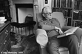 Michael Foot MP, politician. journalist and author, 1913-2010. Leader of the Labour Party from 1980-1983.  Photographed at his home in Hampstead, London, 1975.
