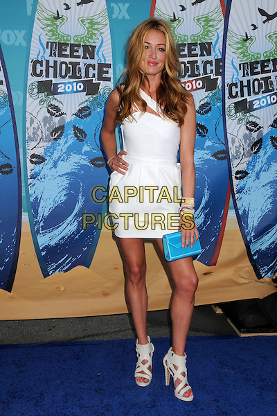CAT DEELEY.Teen Choice Awards 2010 - Arrivals held at Universal Studios Gibson Amphitheatre, Universal City, California, USA.August 8th, 2010.full length dress blue turquoise clutch bag sandals grey gray bracelets white silver one   .CAP/ADM/BP.©Byron Purvis/AdMedia/Capital Pictures.
