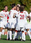 Wisconsin Badgers celebrate a goal by Colin Mani (14) during an NCAA soccer game against the Michigan Wolverines at the McClimon Memorial Track/Soccer Complex in Madison, Wisconsin on October 10, 2010. Michigan beat Wisconsin 3-2. (Photo by David Stluka)