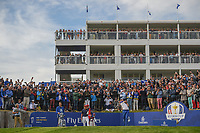 Sergio Garcia (Team Europe) watches his tee shot on 17 during Sunday's singles of the 2018 Ryder Cup, Le Golf National, Guyancourt, France. 9/30/2018.<br /> Picture: Golffile | Ken Murray<br /> <br /> <br /> All photo usage must carry mandatory copyright credit (© Golffile | Ken Murray)
