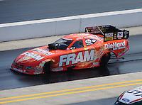 Sept. 17, 2010; Concord, NC, USA; NHRA funny car driver Matt Hagan during qualifying for the O'Reilly Auto Parts NHRA Nationals at zMax Dragway. Mandatory Credit: Mark J. Rebilas/