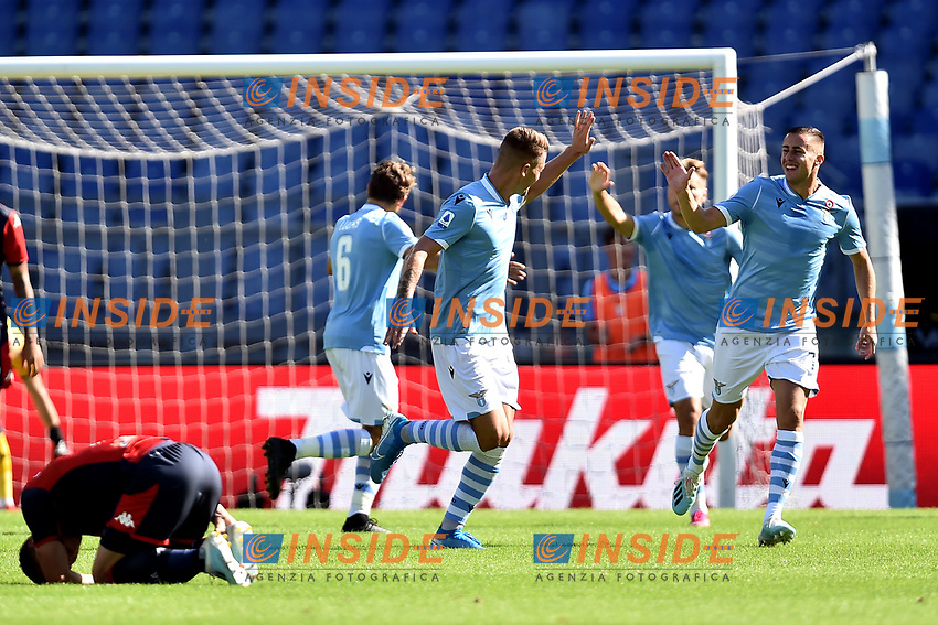 Sergej Milinkovic-Savic of SS Lazio celebrates with team mates after scoring the goal of 1-0 for his side <br /> Roma 29-9-2019 Stadio Olimpico <br /> Football Serie A 2019/2020 <br /> SS Lazio - Genoa CFC <br /> Foto Andrea Staccioli / Insidefoto