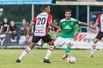 04.09.2018, Hoheellern-Stadion, Leer, GER, FSP, Werder Bremen (GER) vs FC Emmen (NED)<br /> <br /> DFL REGULATIONS PROHIBIT ANY USE OF PHOTOGRAPHS AS IMAGE SEQUENCES AND/OR QUASI-VIDEO.<br /> <br /> im Bild / picture shows<br /> Michael Chacon (FC Emmen #20), Nuri Sahin (Werder Bremen #17), <br /> <br /> Foto © nordphoto / Ewert