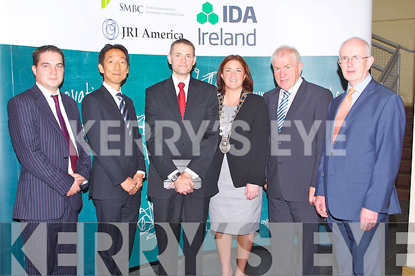 NEW JOBS: Launching the 100 new jobs by SMBC & JRI America Inc at Kerry Technology Park in Tralee on Friday l-r: Shane Walsh (SMBC), Hidetoshi Shibuya (SMBC & JRI America Inc.), Michael O'Dea (JRI America Inc.), Mayor of Tralee Grace O'Donnell, Minster of the Arts Heritage and Gaeltacht Affairs Jimmy Deenihan and Barry O'Leary (IDA Ireland).