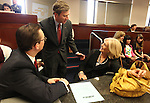 Nevada Sens. Ben Kieckhefer, left, and Greg Brower, both R-Reno, talk with former First Lady Dema Guinn at the Legislature, in Carson City, Nev., on Wednesday, March 30, 2011.  .Photo by Cathleen Allison