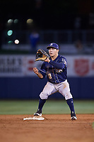 San Antonio Missions second baseman Luis Urias (3) waits for a throw for a force out before attempting to turn a double play during a game against the Tulsa Drillers on June 1, 2017 at ONEOK Field in Tulsa, Oklahoma.  Tulsa defeated San Antonio 5-4 in eleven innings.  (Mike Janes/Four Seam Images)