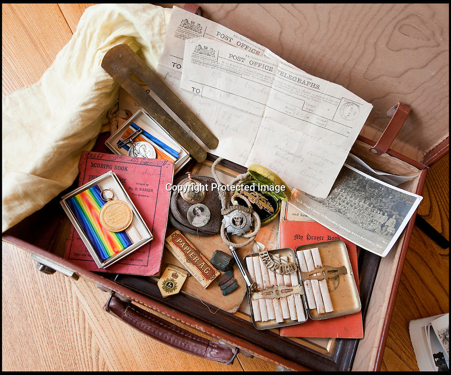 BNPS.co.uk (01202 558833)<br /> Pic: PhilYeomans/BNPS<br /> <br /> The time capsule suitcase...<br /> <br /> Discovered in a loft - Poingnant reminder of families tragic loss during the Great War.<br /> <br /> A moving time capsule containing the last belongings of a dead soldier his family couldn't bring themselves to look at has been found in an attic after 98 years.<br /> <br /> The possessions of Private Edward Ambrose were sent home from the Western Front to his devastated parents after he was killed at the Somme.<br /> <br /> Too painful to look at, the poignant items were shut into a leather case and put into storage where they remained for almost a century.<br /> <br /> The case has now been opened by Pvt Ambrose's 82-year-old nephew who recovered it after reading about an appeal for untold stories for a local First World War exhibition.<br /> <br /> The effects include black and white photos of his loved ones, letters from his parents, his half-smoked pipe and a cigarette case with 10 roll-ups.