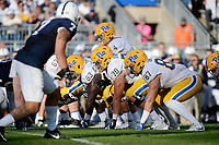 STATE COLLEGE, PA - SEPTEMBER 09:  The Pitt offensive line gets set in their stances wearing throwback uniforms and throwback script Pitt helmets: G Alex Officer (63), T Brian O'Neill (70), and TE Chris Clark (87). The Penn State Nittany Lions defeated the Pittsburgh Panthers 33-14 in the Keystone Classic September 9, 2017 at Beaver Stadium in State College, PA. (Photo by Randy Litzinger/Icon Sportswire)