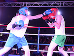 Steven Nugent and Mossie Walsh fighting in the White Collar Boxing at the O'Raghalligh's. Photo:Colin Bell/pressphotos.ie