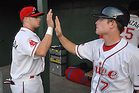 Zach Gentile, right, of the Greenville Drive high-fives teammate Shannon Wilkerson in the dugout at the end of an inning in a game against the West Virginia Power April 29, 2010, at Fluor Field at the West End in Greenville, S.C. Photo by: Tom Priddy/Four Seam Images