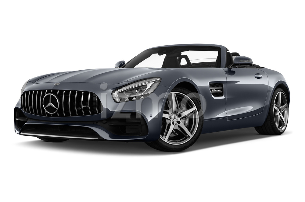 Stock pictures of low aggressive front three quarter view of a 2018 Mercedes Benz AMG GT base 2 Door Roadster