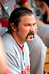 6 June 2010: Cincinnati Reds' catcher Corky Miller sits in the dugout during a game against the Washington Nationals at Nationals Park in Washington, DC. The Reds edged out the Nationals 5-4 in a ten inning game. Mandatory Credit: Ed Wolfstein Photo