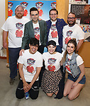 1st row: George Salazar, Lauren Marcus, Katlyn Carlson 2nd row: Jason SweetTooth Williams, Joe Iconis, Will Roland and Stephen Brackett attends the Meet & Greet for 'Be More Chill' at The Pershing Square Signature Center on June 8, 2018 in New York City.
