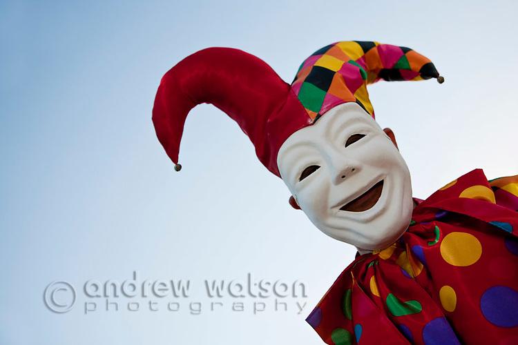 Clown jester at Cairns Festival Parade.  Cairns, Queensland, Australia