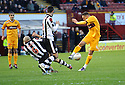 ST MIRREN'S JIM GOODWIN BLOCKS MOTHERWELL'S TOM HATELEY'S SHOT..17/12/2011 sct_jsp001_motherwell_v_st_mirren     .Copyright  Pic : James Stewart.James Stewart Photography 19 Carronlea Drive, Falkirk. FK2 8DN      Vat Reg No. 607 6932 25.Telephone      : +44 (0)1324 570291 .Mobile              : +44 (0)7721 416997.E-mail  :  jim@jspa.co.uk.If you require further information then contact Jim Stewart on any of the numbers above.........