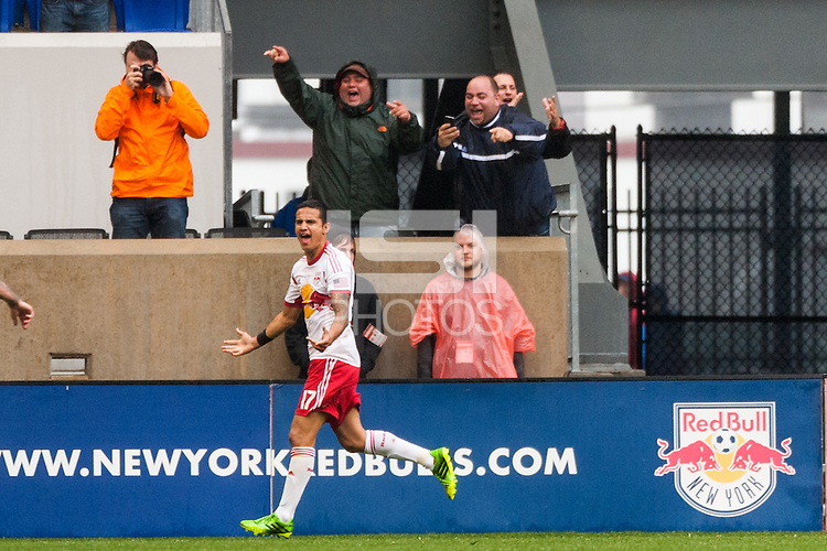 Tim Cahill (17) of the New York Red Bulls celebrates scoring. The New York Red Bulls defeated the Los Angeles Galaxy 1-0 during a Major League Soccer (MLS) match at Red Bull Arena in Harrison, NJ, on May 19, 2013.