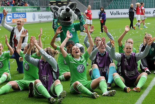 21.04.2013. Wolfsburg, Germany. Womens Champions League, Wolfsburg versus Arsenal, second leg.  Celebrations at the end of the game from the Wolfsburg players