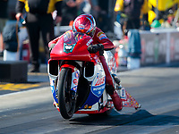 Oct 14, 2019; Concord, NC, USA; NHRA pro stock motorcycle rider Hector Arana Sr during the Carolina Nationals at zMax Dragway. Mandatory Credit: Mark J. Rebilas-USA TODAY Sports