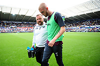 Billy Reid, assistant manager for Swansea speaks with Oli McBurnie of Swansea City during the pre-match warm-up of the Sky Bet Championship match between Swansea City and Nottingham Forest at the Liberty Stadium, in Swansea, Wales, UK. Saturday 15 September 2018