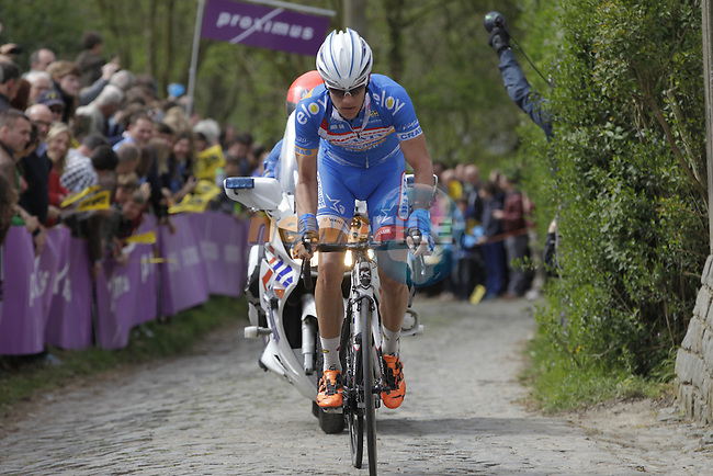 Wesley Kreder (NED) Wanty-Groupe Gobert climbs the Molenberg during the 2014 Tour of Flanders, Belgium.<br /> Picture: Eoin Clarke www.newsfile.ie
