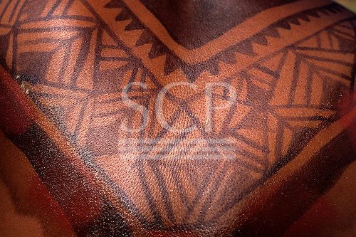 Posto Leonardo, Xingu, Brazil. Man with intricate black body paint design.