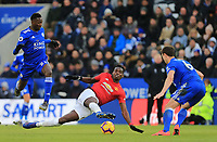 Paul Pogba of Manchester Unite and Wilfred Ndidi of Leicester City during the Premier League match between Leicester City and Manchester United at King Power Stadium on February 3rd 2019 in Leicester, England. (Photo by Leila Coker/phcimages.com)<br /> Foto PHC Images / Insidefoto <br /> ITALY ONLY