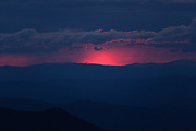 Appalachian Trail - Silhouette of mountains at dusk fron Mount Washington. Located in the White Mountains, New Hampshire USA