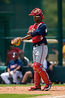 Catcher Christian Bethancourt #16 of the GCL Braves gives signs to the infield at Disney's Wide World of Sports Complex, July 13, 2009, in Orlando, Florida.  (Photo by Brian Westerholt / Four Seam Images)