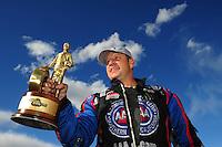 Apr. 1, 2012; Las Vegas, NV, USA: NHRA funny car driver Robert Hight celebrates after winning the Summitracing.com Nationals at The Strip in Las Vegas. Mandatory Credit: Mark J. Rebilas-US PRESSWIRE