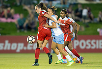 Boyds, MD - Saturday April 29, 2017: Lindsay Elizabeth Agnew, Kristen Edmonds during a regular season National Women's Soccer League (NWSL) match between the Washington Spirit and the Houston Dash at Maureen Hendricks Field, Maryland SoccerPlex. The Dash won 1-0.