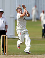 Jordan Gregory bowls for North London during the Middlesex County Cricket League Division Three game between North London and Brentham at Park Road, London, on Sat July 23, 2016