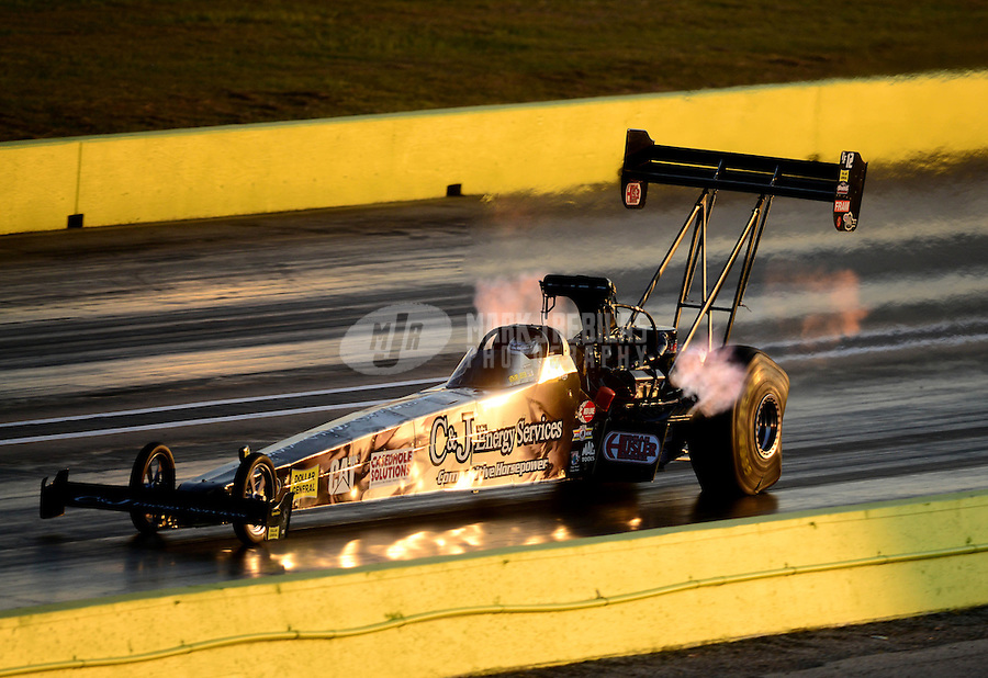 Sept. 21, 2012; Ennis, TX, USA: NHRA top fuel dragster driver Bob Vandergriff Jr during qualifying for the Fall Nationals at the Texas Motorplex. Mandatory Credit: Mark J. Rebilas-US PRESSWIRE