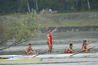 Ottensheim, AUSTRIA.  A  Final, ESP JM4- Bow Antonio GUZMAN, Rafael MORON ROMERO, Jaun GARCIA and beltran HIDALGO, gold medallist, at the 2008 FISA Senior and Junior Rowing Championships,  Linz/Ottensheim. Saturday,  26/07/2008.  [Mandatory Credit: Peter SPURRIER, Intersport Images] Rowing Course: Linz/ Ottensheim, Austria