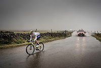 Drikus Coetzee (NAM) is the last rider up the flooded road atop the Kidstones Climb<br /> <br /> Elite Men Road Race from Leeds to Harrogate (shortened to 262km)<br /> 2019 UCI Road World Championships Yorkshire (GBR)<br /> <br /> ©kramon
