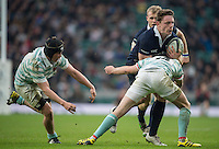 Twickenham, United Kingdom. Oxford's Tom STILEMANN, tackles low  by Cambridge's, Simon DAVIES, during the  Men's Varsity Rugby, [Oxford vs Cambridge],Twickenham. UK, at the RFU Stadium, Twickenham, England, <br /> <br /> Thursday  08/12/2016<br /> <br /> [Mandatory Credit; Peter Spurrier/Intersport-images]