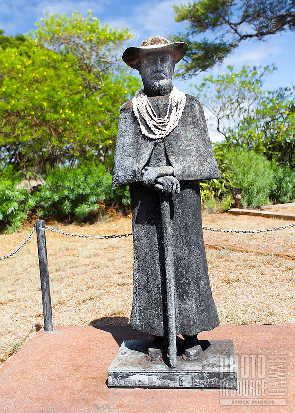 Father Damien statue outside St. Joseph's Church, which Father Damien built in 1876, in Kamalo, Moloka'i