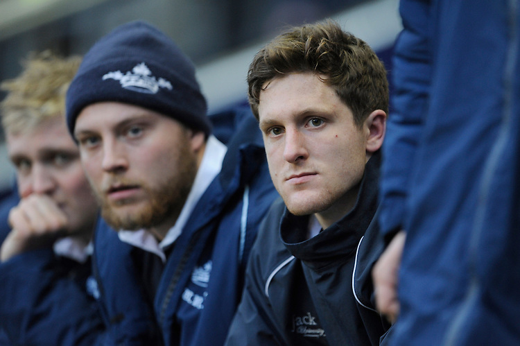 Sam Egerton of Oxford University looks dejected after being awarded the first red card in the history of the Varsity Match during the 132nd Varsity Match between Oxford University and Cambridge University at Twickenham Stadium on Thursday 13th December 2013 (Photo by Rob Munro)