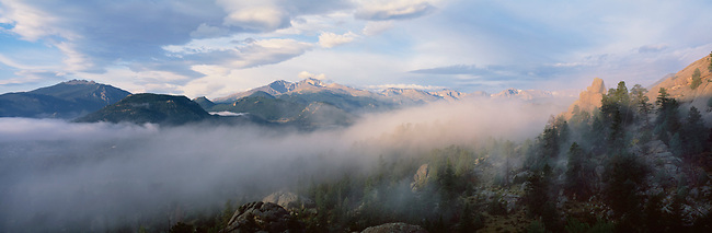 panorama, Longs Peak, Estes Park, Colorado, Rocky Mountain National Park, mist, fog, ridge, mountains